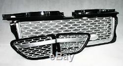 Calandre noire brillante avec grillage 3 pièces argent pour Range Rover Sport L