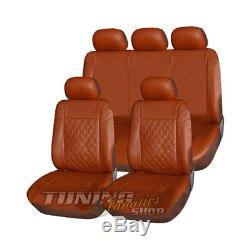 Cuir / simili Siège Housse marron carreau compatible avec BMW et mini