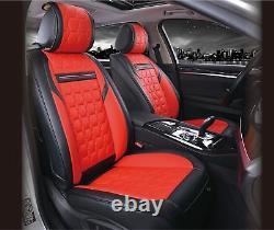 De Luxe Premium Rouge Cuir Noir Aspect Diamant Siège Housses Land Range Rover