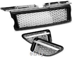HAWKE Calandre & Ventilation Paquet L320 Range Rover Sport Noir Et Argent Filet