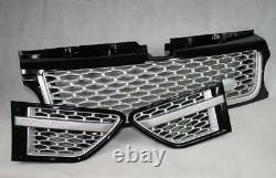 Noir Brillant Grille Et Côté Prise Avec Maille Argent Pour Range Rover Sport