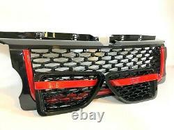 Noir Brillant Grille Et Côté Prise Rouge Bordure Pour Range Rover Sport 05-09