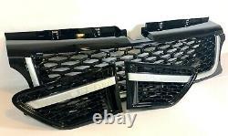 Noir Brillant Grille Et Side Vents avec Argent Bordure Pour Range Rover Sport