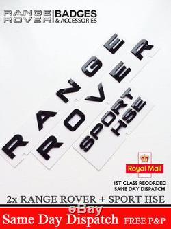 PIANO BLACK RANGE ROVER LETTERS BADGE LETTERING + SPORT HSE REAR BONNET BOOT