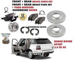 Pour Range Rover Sport 3.0td 09- Avant + Arrière Disque De Frein+plaquette +