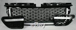 Range Rover Sport (L320) Calandre noire brillante avec grillage 3 pièces garnitu