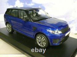 Superbe Kyosho Miniature 1/18 2016 Range Rover Sport Svr Estoril Bleu & Noir Rhd